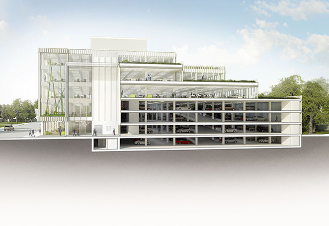 Alex Losada Sustainable architecture offices parking section 3D